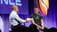 "Max Levchin, r., co-founder of Affirm, tells moderator Salim Ismail that he wants ""to build a bank from the ground up."""